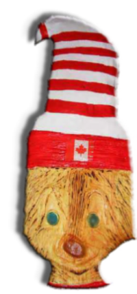 Wood Carved Cartoon Cat in a Canadian Hat
