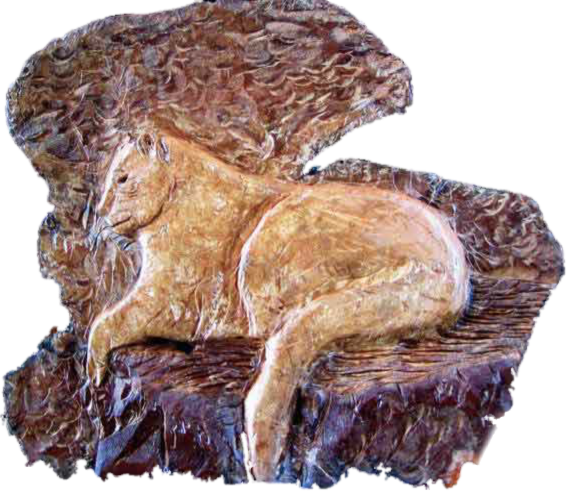 Cougar at Rest carved in Yew Wood