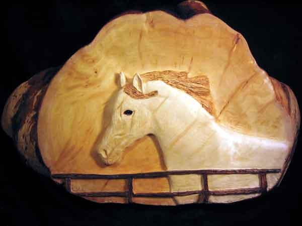 Arabian Horse Carved in Yellow Cedar