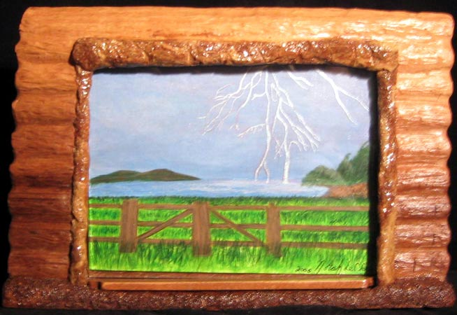 Log Cabin View - a Carved Photo Frame