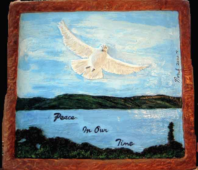 The Dove of Peace - a mixed media painting on wood